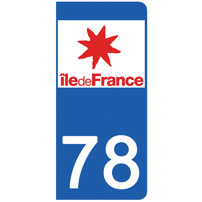 2 stickers pour plaque d'immatriculation pour Auto, 78 Yvelines