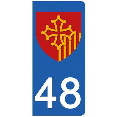 2 stickers pour plaque d'immatriculation pour Auto, 48 Lozére