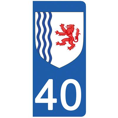 2 stickers pour plaque d'immatriculation pour Auto, 40 Landes