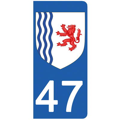 2 stickers pour plaque d'immatriculation pour Auto, 47 Lot et Garonne