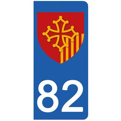 2 stickers pour plaque d'immatriculation pour Auto, 82 Tarn et Garonne
