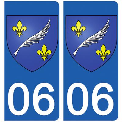 2 stickers pour plaque d'immatriculation pour Auto, 06 Cannes