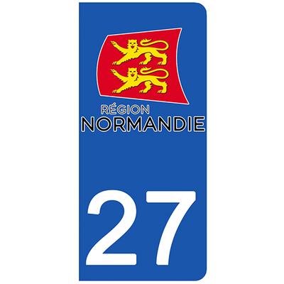 2 stickers pour plaque d'immatriculation pour Auto, 27 Eure