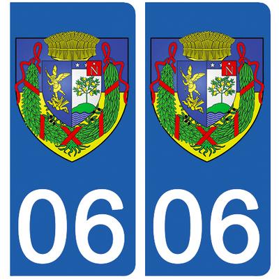 2 stickers pour plaque d'immatriculation pour Auto, 06 Beaulieu sur mer