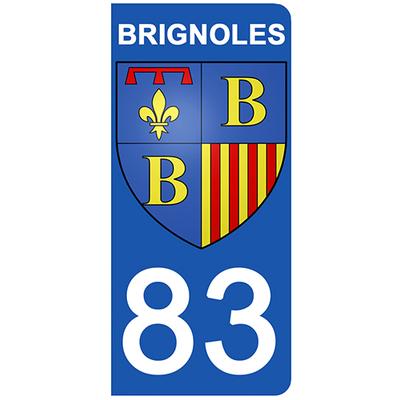 2 stickers pour plaque d'immatriculation pour Auto, 83 Var, Brignole