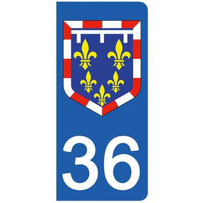 2 stickers pour plaque d'immatriculation pour Auto, 36 Indre