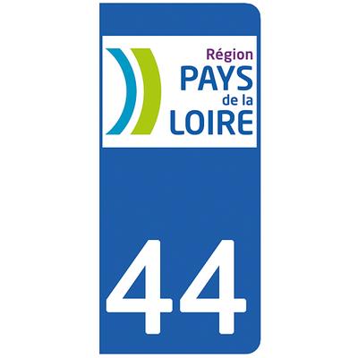 2 stickers pour plaque d'immatriculation pour Auto, 44 Loire Atlantique