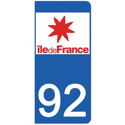 2 stickers pour plaque d'immatriculation pour Auto, 92 Hauts de Seine