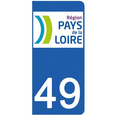2 stickers pour plaque d'immatriculation pour Auto, 49 Maine et Loire