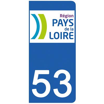 2 stickers pour plaque d'immatriculation pour Auto, 53 Mayenne