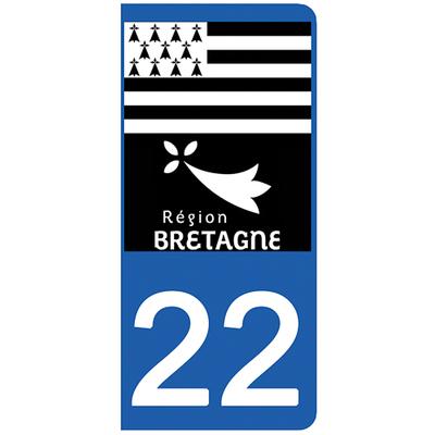 2 stickers pour plaque d'immatriculation pour Auto, 22 Côtes-d'Armor