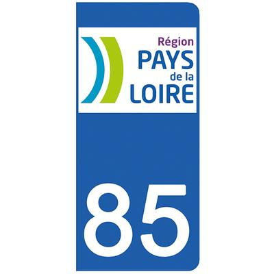 2 stickers pour plaque d'immatriculation pour Auto, 85 Vendée