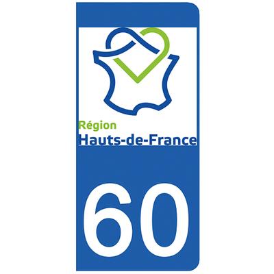 2 stickers pour plaque d'immatriculation pour Auto, 60 Oise
