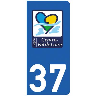 2 stickers pour plaque d'immatriculation pour Auto, 37 Indre et Loire