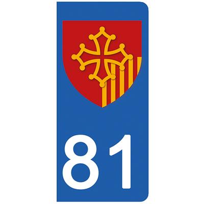 2 stickers pour plaque d'immatriculation pour Auto, 81 Tarn