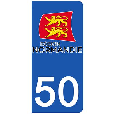 2 stickers pour plaque d'immatriculation pour Auto, 50 Manche