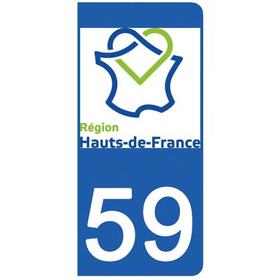 2 stickers pour plaque d'immatriculation pour Auto, 59 Nord