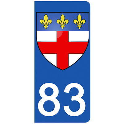 2 stickers pour plaque d'immatriculation pour Auto, 83 Var, Frejus