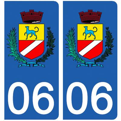 2 stickers pour plaque d'immatriculation pour Auto, 06 Cagnes sur mer
