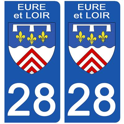 2 stickers pour plaque d'immatriculation pour Auto, 28 blason de l'Eure et Loir