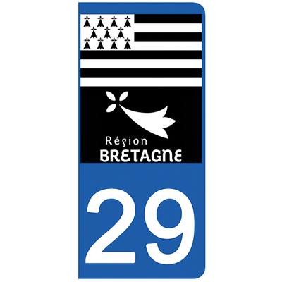 2 stickers pour plaque d'immatriculation pour Auto, 29 Finistère