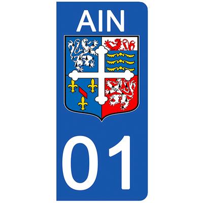 2 stickers pour plaque d'immatriculation pour Auto, 01 blason de l'Ain