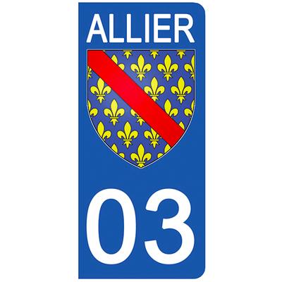 2 stickers pour plaque d'immatriculation pour Auto, 03 blason de l'Allier