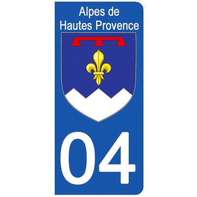 2 stickers pour plaque d'immatriculation pour Auto, 04 blason des Alpes de Hautes Provence