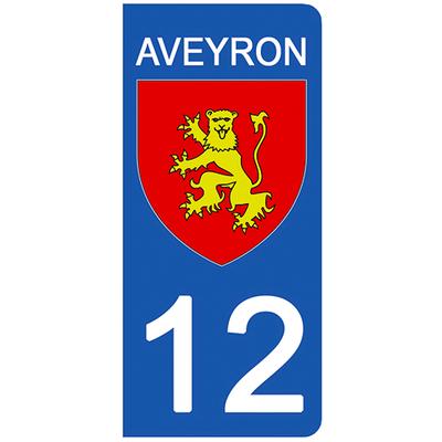 2 stickers pour plaque d'immatriculation pour Auto, 12 blason Aveyron