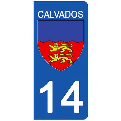 2 stickers pour plaque d'immatriculation pour Auto, 14 blason Calvados