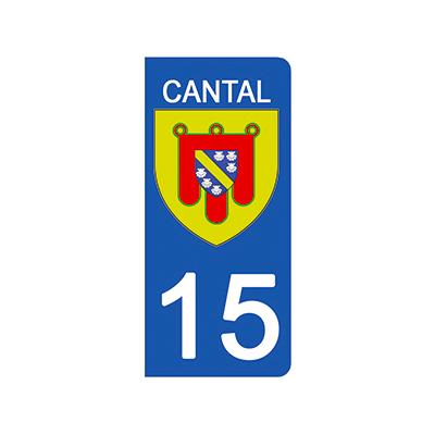 2 stickers pour plaque d'immatriculation pour Auto, 15 blason Cantal