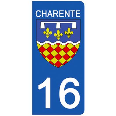 2 stickers pour plaque d'immatriculation pour Auto, 16 blason Charente