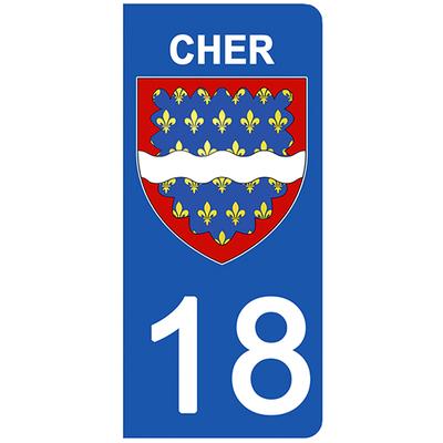 2 stickers pour plaque d'immatriculation pour Auto, 18 blason du Cher