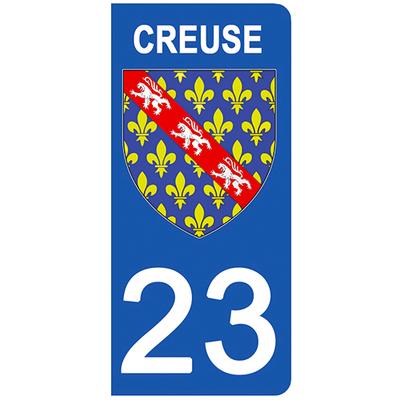 2 stickers pour plaque d'immatriculation pour Auto, 23 blason de la Creuse
