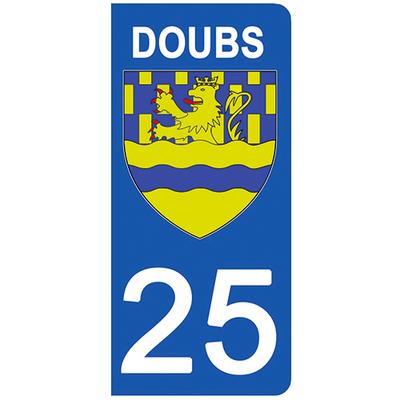 2 stickers pour plaque d'immatriculation pour Auto, 25 blason du Doubs