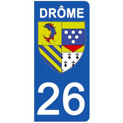 2 stickers pour plaque d'immatriculation pour Auto, 26 blason de la Drôme