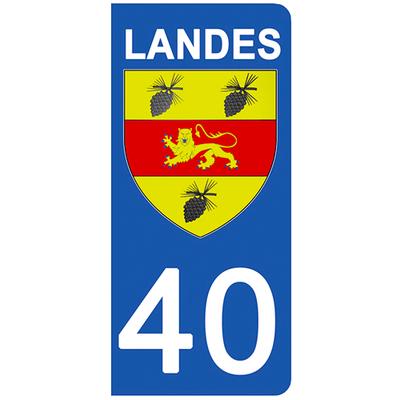 2 stickers pour plaque d'immatriculation pour Auto, 40 blason des Landes