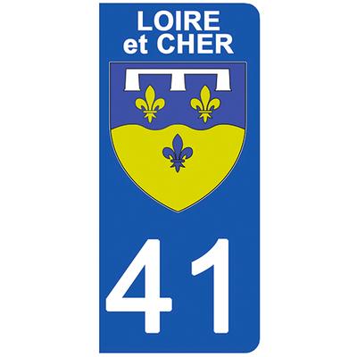 2 stickers pour plaque d'immatriculation pour Auto, 41 blason du Loir et Cher