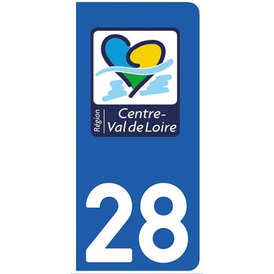 2 stickers pour plaque d'immatriculation pour Auto, 28 Eure et Loir