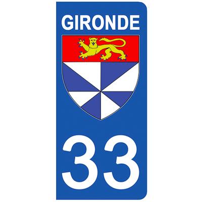 2 stickers pour plaque d'immatriculation pour Auto, 33 blason de la Gironde