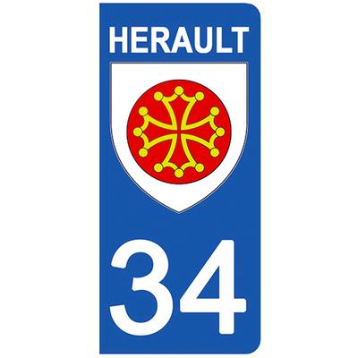 2 stickers pour plaque d'immatriculation pour Auto, 34 blason de l'Herault