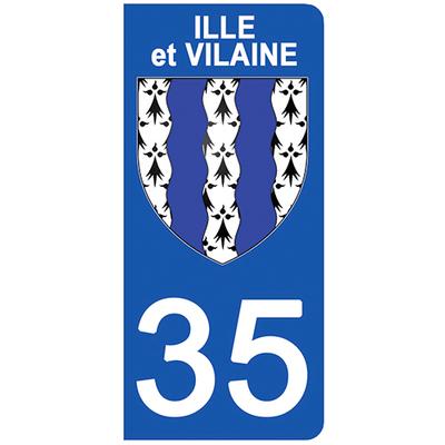 2 stickers pour plaque d'immatriculation pour Auto, 35 blason de l'Ille et Vilaine