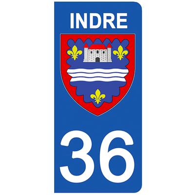 2 stickers pour plaque d'immatriculation pour Auto, 36 blason de l'Indre