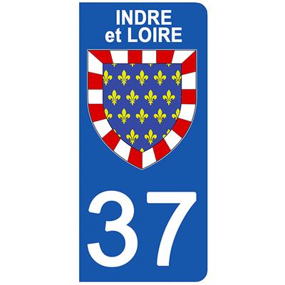 2 stickers pour plaque d'immatriculation pour Auto, 37 blason de l'Indre et Loire