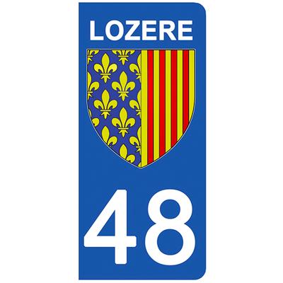 2 stickers pour plaque d'immatriculation pour Auto, 48 blason de la Lozère