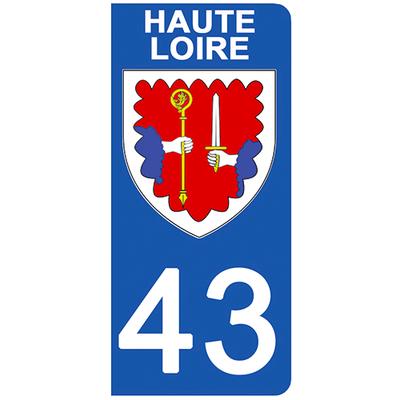 2 stickers pour plaque d'immatriculation pour Auto, 43 blason de Haute Loire
