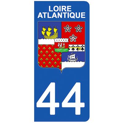 2 stickers pour plaque d'immatriculation pour Auto, 44 blason de la Loire Atlantique