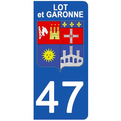 2 stickers pour plaque d'immatriculation pour Auto, 47 blason du Lot et Garonne