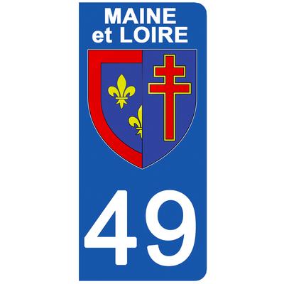 2 stickers pour plaque d'immatriculation pour Auto, 49 blason du Maine et Loire