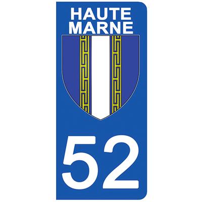 2 stickers pour plaque d'immatriculation pour Auto, 52 blason de Haute-Marne
